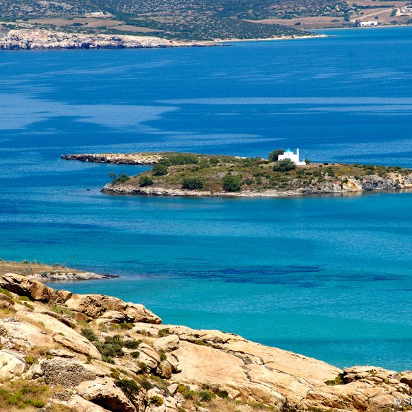 A small church on Anlipsi island, just off the coast of Paros, Greece.