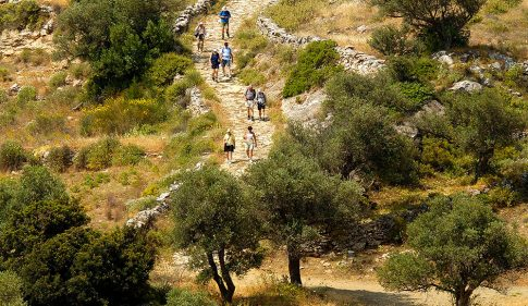 Hiking & trekking up a track, one of many activities & things to do when on holiday in Paros