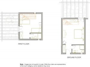 Room plan of the 2 floor luxury family Maisonette in Paros at Yria Island Boutique Hotel & Spa
