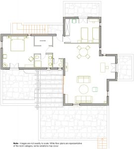 Room plan of luxury Yria Island Boutique Hotel & Spa sea view family Residence Suite in Paros
