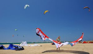 Yria Island Hotel holiday activities include kite surfing & windsurfing on the Golden beach in Paros