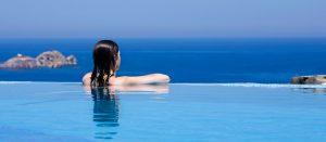 Admiring the view from the pool of the Yria Ktima Luxury Villa accommodation at Yria Hotel in Paros