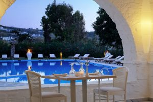 Guests at Yria Island Paros Boutique Hotel & Spa restaurant can dine right beside the pool