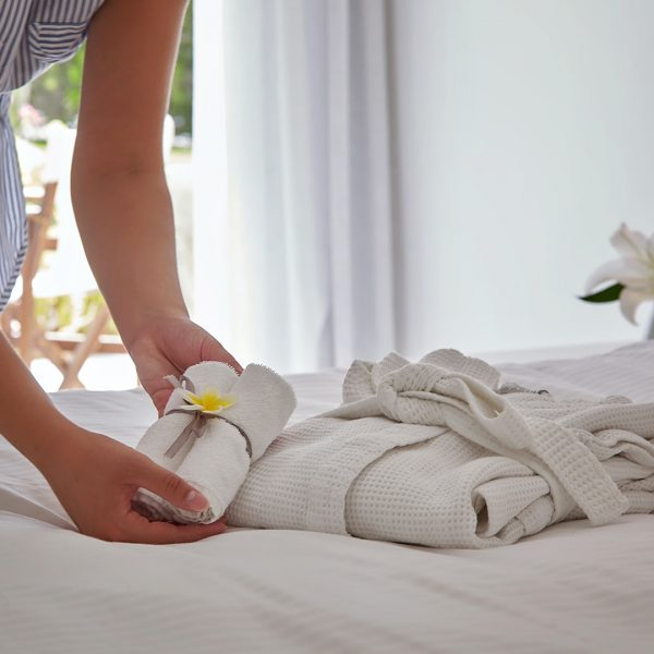 Yria Island Boutique Hotel maid turndown service in the sea view family Residence Suite in Paros