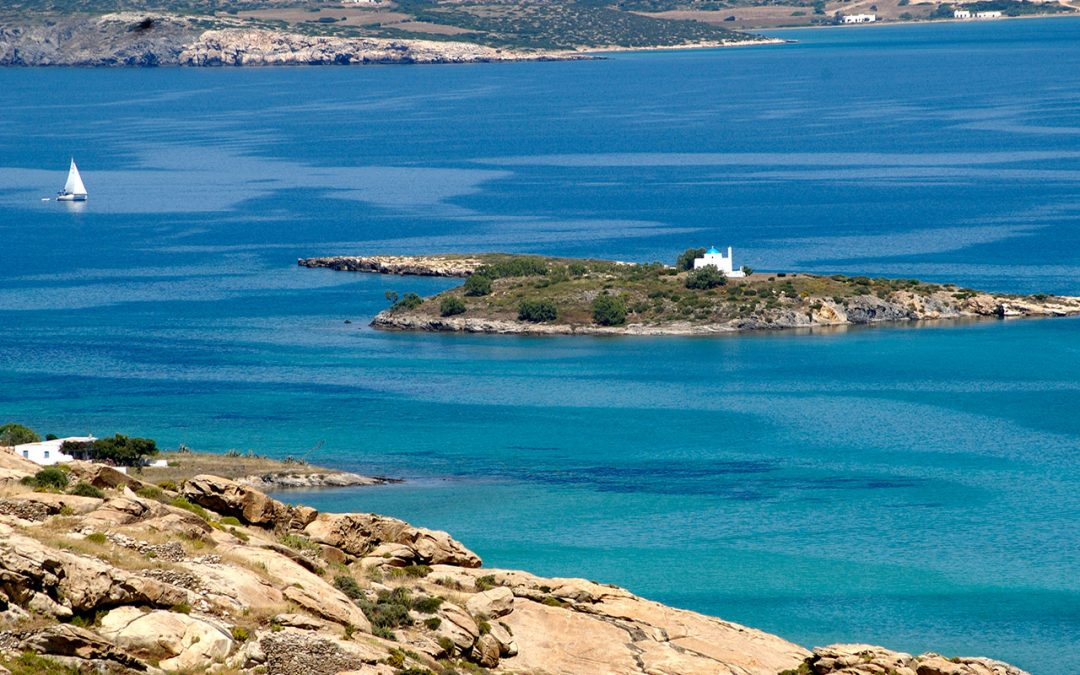 An island in the bay of Kolimbithres near Naoussa on the north coast of Paros, Greece