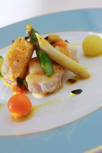 Stylish savoury dish presented in nouvelle cuisine style at Yria Boutique Hotel restaurant in Paros