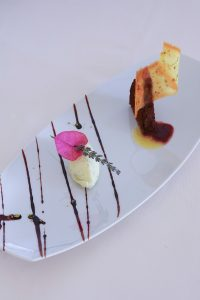Stylishly presented dessert with ice cream served at Yria Boutique Hotel & Spa restaurant in Paros