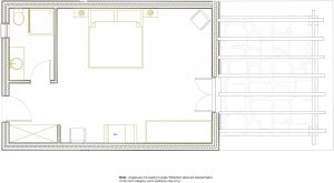 Room plan of garden view Superior Double couples room in Paros at Yria Island Boutique Hotel & Spa