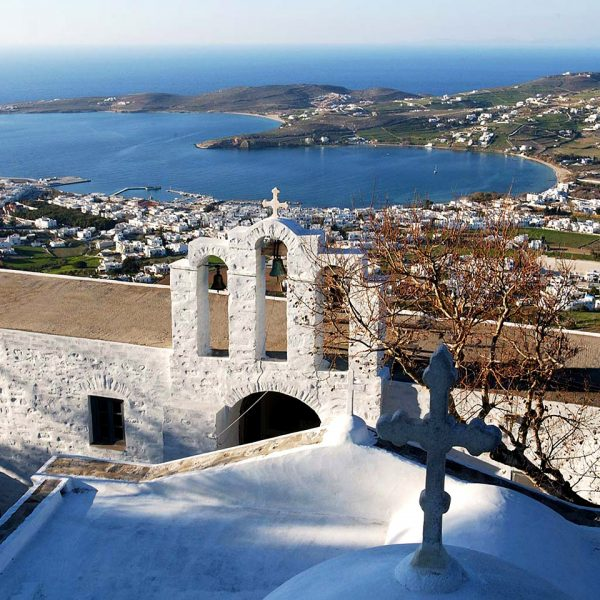 Church overlooks harbour on the island of Paros, Greece, which is the location of Yria Luxury Hotel