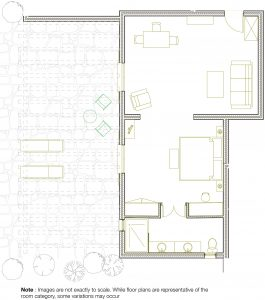 Room plan of the layout of the luxury Executive couples Suite at Yria Island Boutique Hotel in Paros