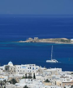 Boat in Kolimbithres Bay in Paros. Yria Hotel guests can enjoy lots of activities on the island.