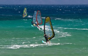 Windsurfing is an activity for Yria Boutique Hotel guests to take part in while on holiday in Paros