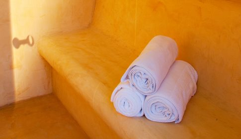 Towels in a steam room at the Yria Island luxury Boutique Hotel & Spa resort in Paros