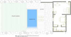 Room plan of the interior & exterior of the Yria Island Hotel Private Pool Experience Suite in Paros