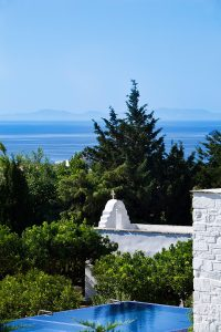 Impressive view of the sea & countryside in Paros from Yria Hotel luxury private pool villa rental