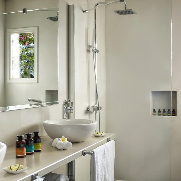 Mirror, sinks & shower inside the Private Pool Suite bathroom at Yria Boutique Hotel & Spa in Paros
