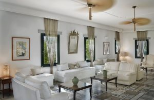 Comfortable lounge area with sofas & coffee tables at Yria luxury boutique Hotel & Spa in Paros