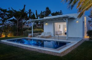 Private pool outside luxury Private Pool Experience suite accommodation at Yria Hotel Resort, Paros