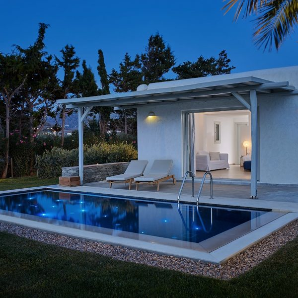 Exterior of Private Pool Experience Suite with sunbeds, veranda & pool in Yria Hotel gardens, Paros